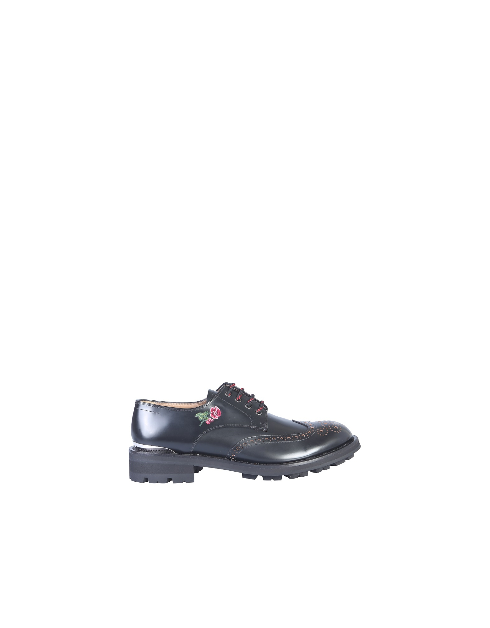 Alexander McQueen Designer Shoes, Embroidered Black Leather Lace-Up Men's Derby Shoes