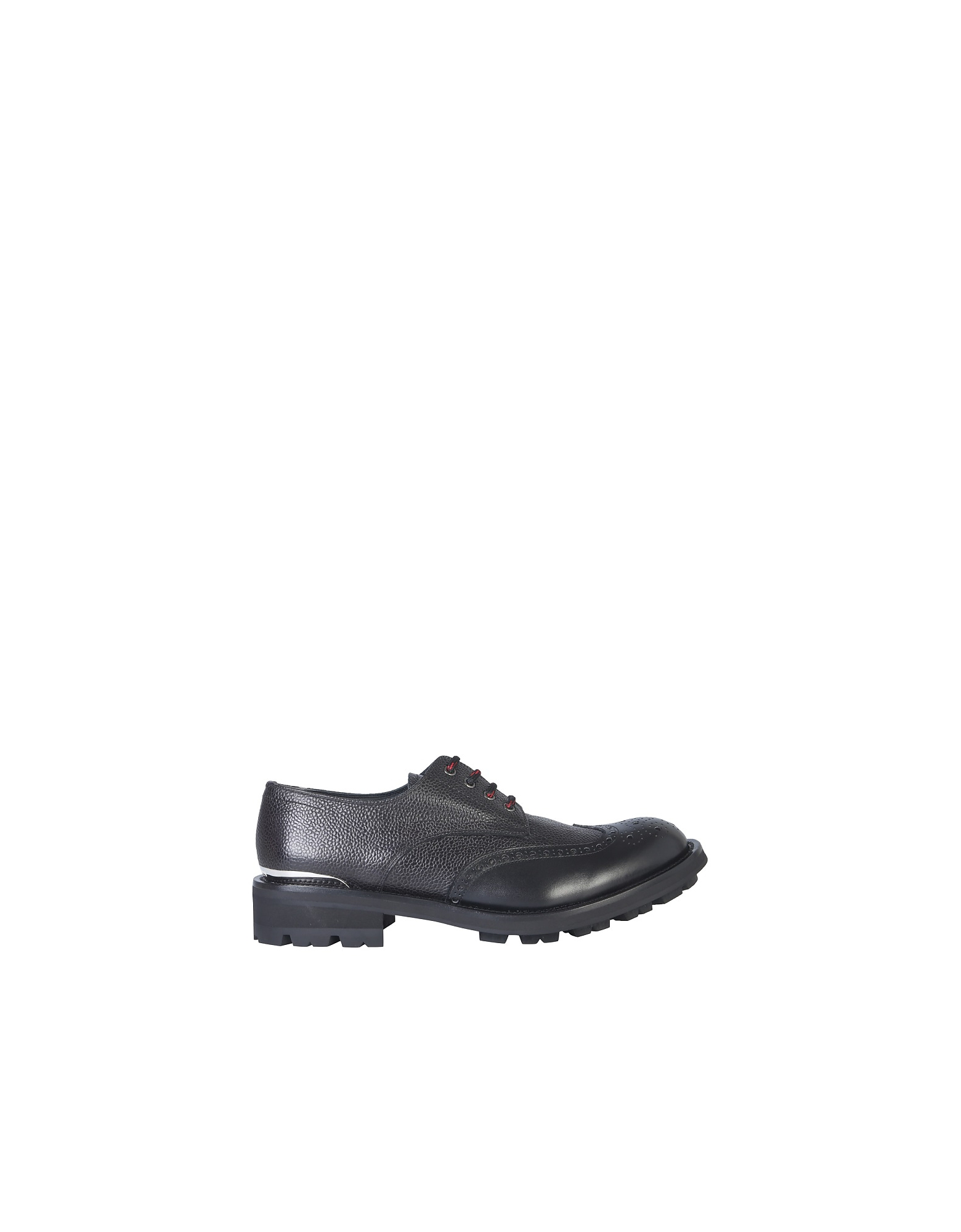 Alexander McQueen Designer Shoes, Black Embossed Leather Men's Lace-Up Derby Shoes