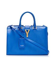 Blue Leather Ligne Y Small Cabas Tote - Saint Laurent