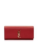 Saint Laurent Classic Monogram Saint Laurent Clutch in Pelle Rosso Lipstick - saint laurent - it.forzieri.com