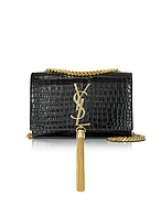 Saint Laurent Black Croco Embossed Leather Small Kate Monogramme Tassel Shoulder Bag yv130217-001-00