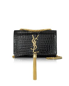 Black Croco Embossed Leather Small Kate Monogramme Tassel Shoulder Bag - Saint Laurent