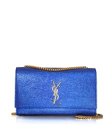 Deep Blue Metallic Textured-leather Medium Kate Monogram Shoulder Bag - Saint Laurent