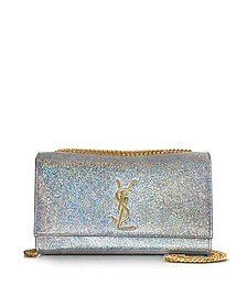 Silver Metallic Textured-leather Medium Kate Monogram Shoulder Bag - Saint Laurent