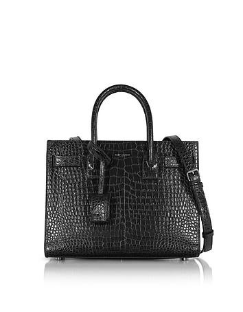 Forzieri DE Saint Laurent Black Croco Embossed Leather Classic Baby Sac De Jour Bag