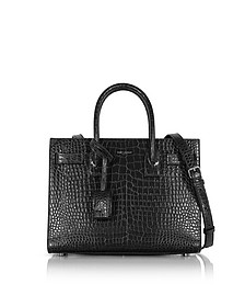 Black Croco Embossed Leather Classic Baby Sac De Jour Bag - Saint Laurent