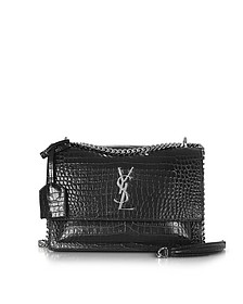 Black Croco Embossed Medium Sunset Monogram Shoulder Bag - Saint Laurent