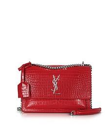 Red Croco Embossed Medium Sunset Monogram Shoulder Bag - Saint Laurent