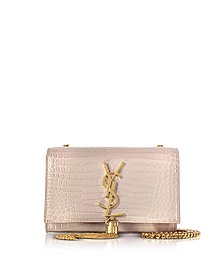 Pink Croco Embossed Leather Small Kate Monogram Tassel Shoulder Bag - Saint Laurent