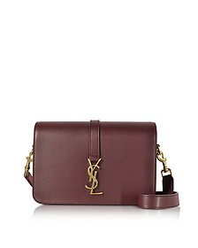 Classic Medium Monogram Burgundy Grained Leather Universite Bag - Saint Laurent