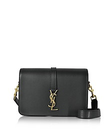 Classic Medium Monogram Black Grained Leather Universite Bag - Saint Laurent