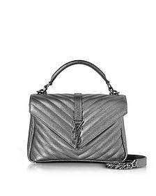Classic Medium Monogram Gun Metal Textured and Quilted Leather College Bag  - Saint Laurent