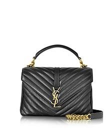 Classic Medium Monogram Black Quilted Leather College Bag  - Saint Laurent