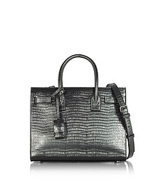 Laminated Croco Embossed Leather Classic Baby Sac De Jour Bag - Saint Laurent