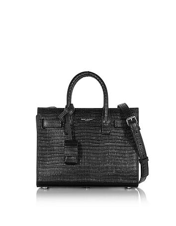 Forzieri DE Saint Laurent Black Croco Embossed Leather Classic Nano Sac De Jour Bag