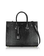 Saint Laurent Black Crocodile Embossed Leather Classic Small Sac De Jour Bag yv130416-033-00
