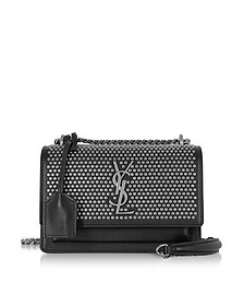 Small Sunset Monogram Shoulder Bag w/Flat Studs - Saint Laurent