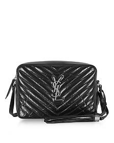 Medium Lou Black Quilted patent leather Shoulder Bag  - Saint Laurent