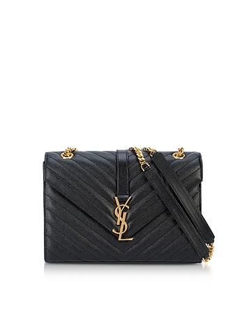 Saint Laurent - Medium Black Grainy Leather Envelope Monogram Shoulder Bag