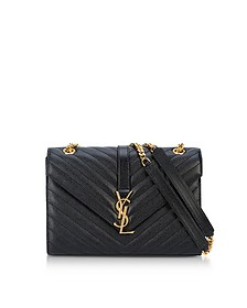Medium Black Grainy Leather Envelope Monogram Shoulder Bag - Saint Laurent