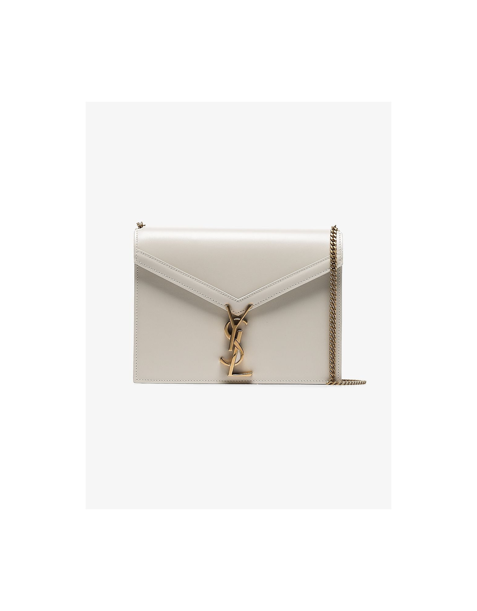 Saint Laurent Designer Handbags, Beige cassandra chain leather shoulder bag