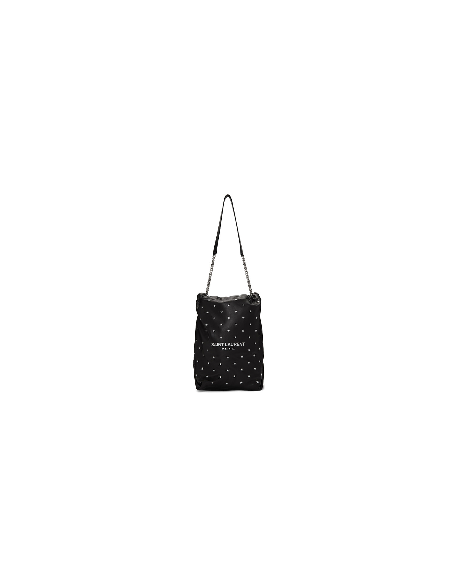 Saint Laurent Designer Handbags, Black All Over Silver Star Teddy Bucket Bag