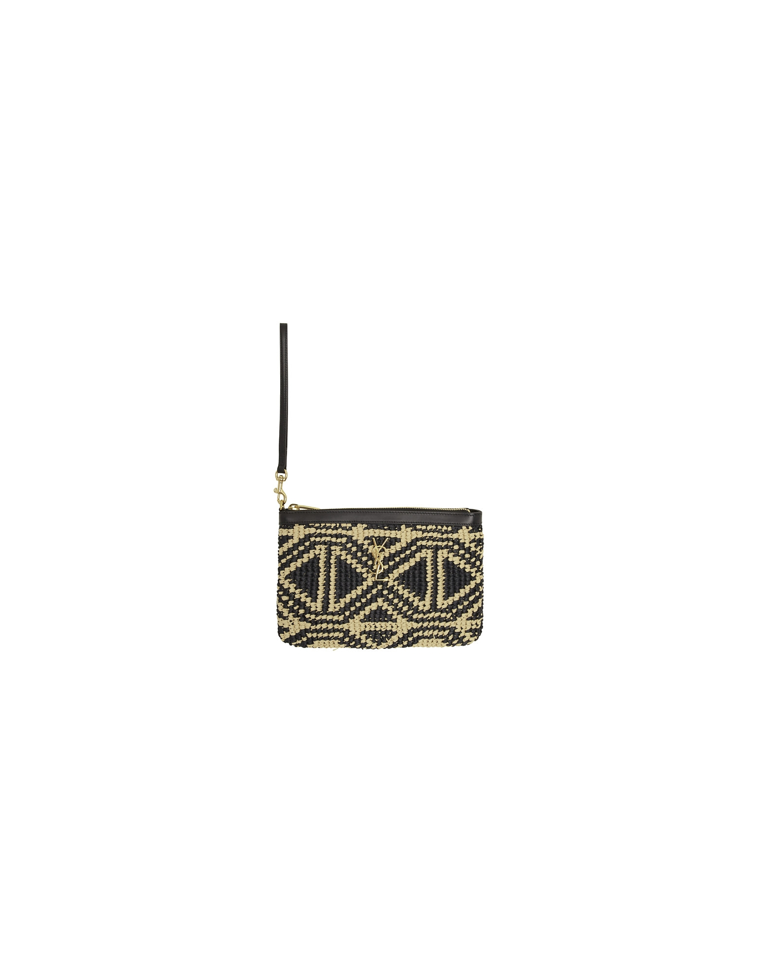 Saint Laurent Designer Handbags, Black and Beige Raffia Monogramme Pouch