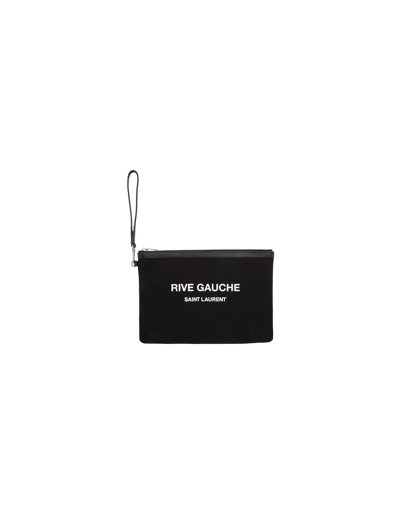 Saint Laurent Designer Handbags, Black Canvas Pouch