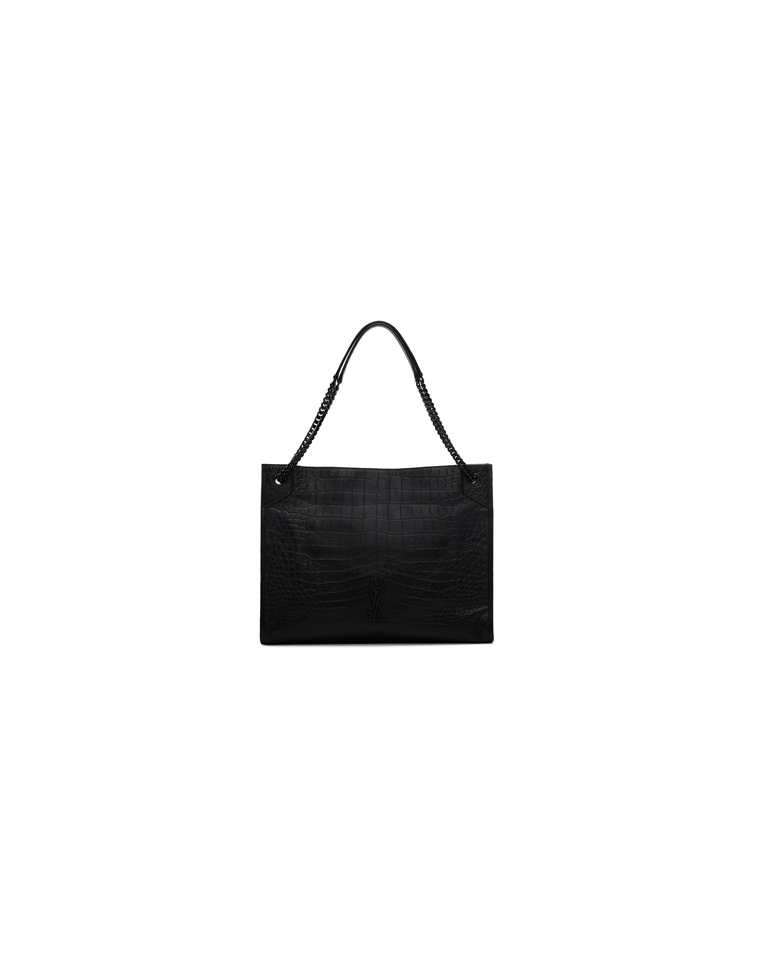 Saint Laurent Designer Handbags, Black Croc Large Niki Shopping Tote