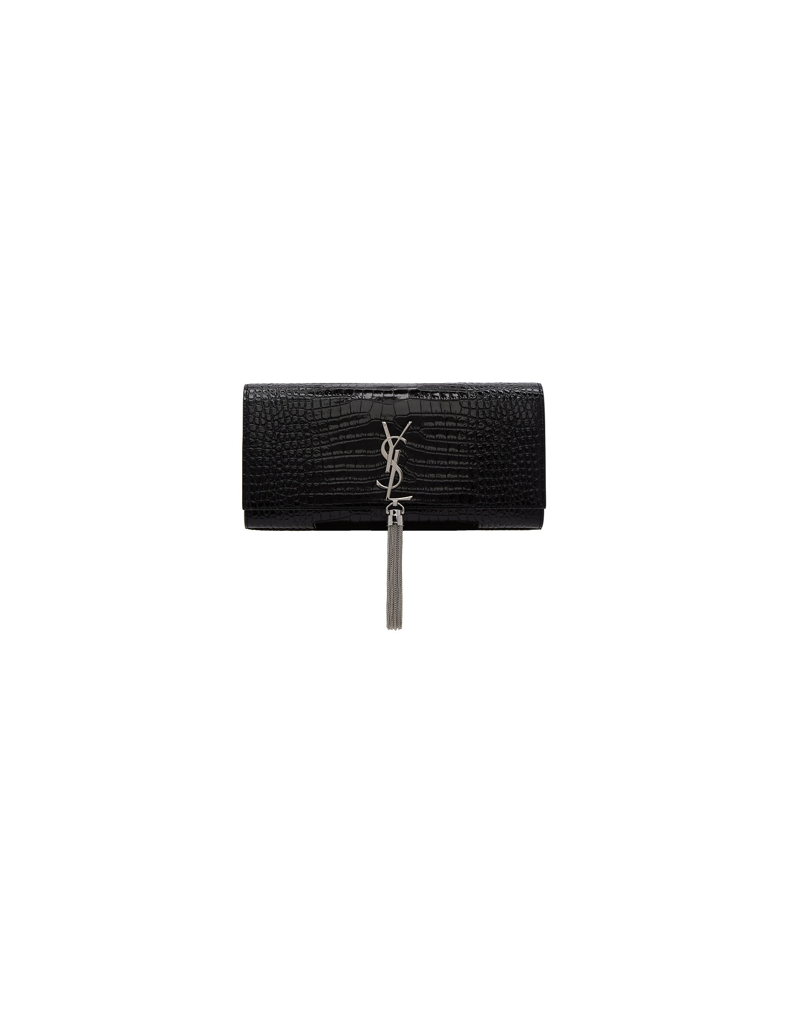 Saint Laurent Designer Handbags, Black Croc Kate Tassel Clutch