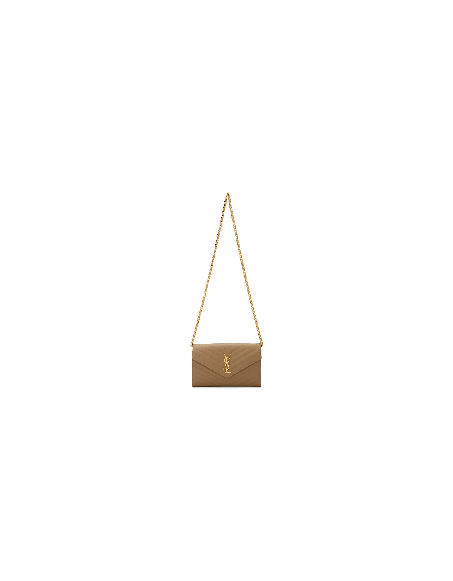 Saint Laurent Designer Handbags, Beige Monogramme Chain Wallet Bag