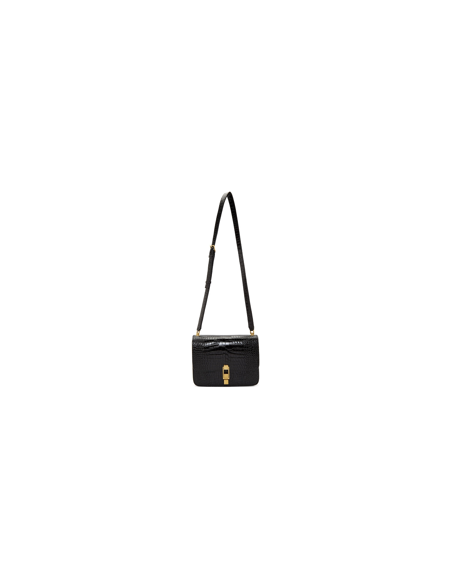 Saint Laurent Designer Handbags, Black Croc Carre Satchel Bag
