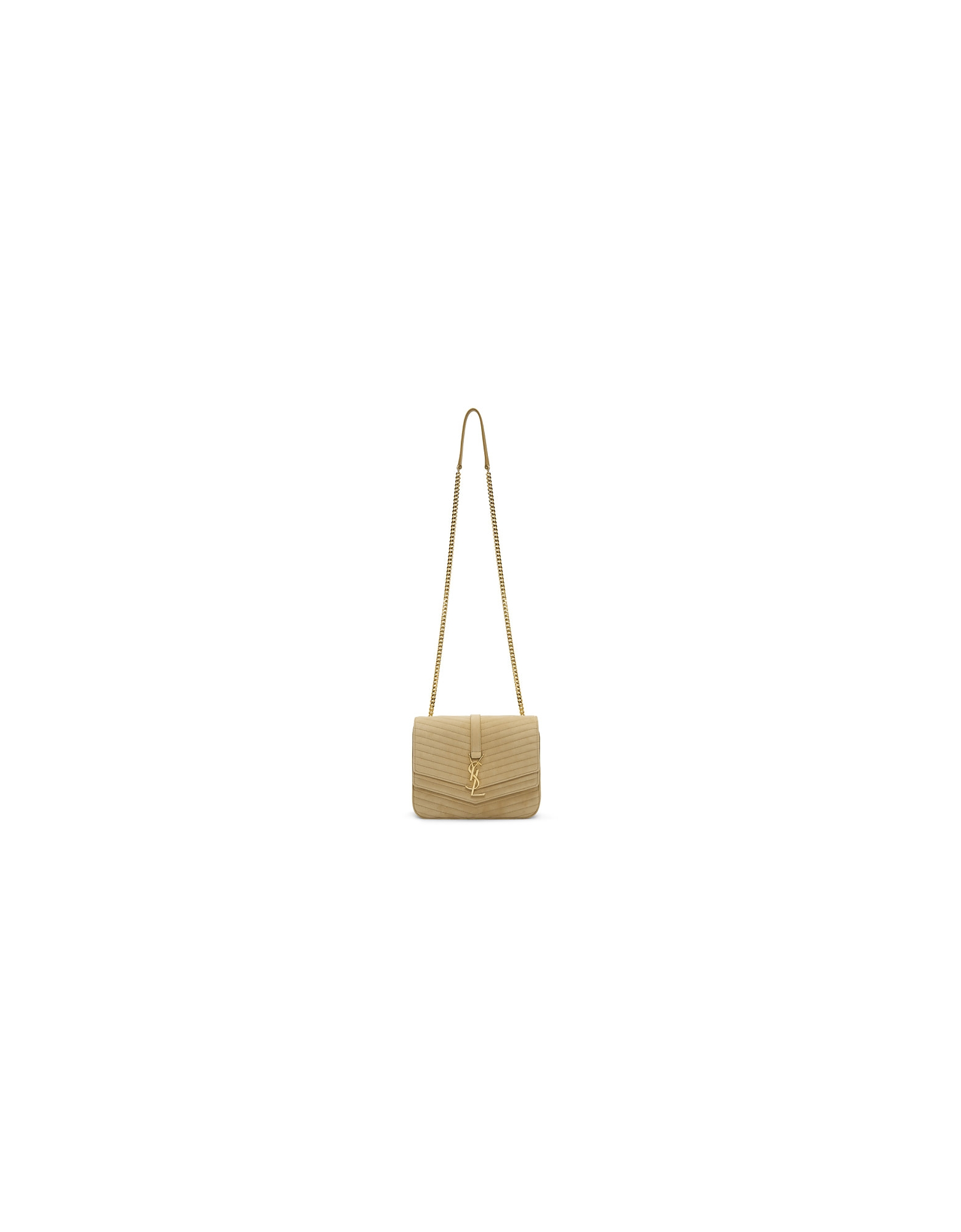 Saint Laurent Designer Handbags, Beige Suede Medium Sulpice Bag