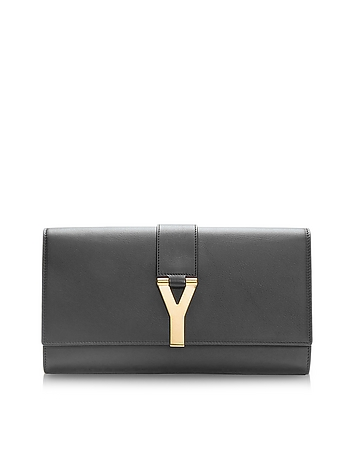 Black Leather Y Clutch