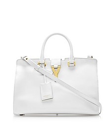Small Cabas Y White Leather Tote - Saint Laurent