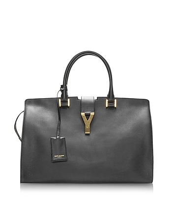 Cabas Y Black Leather Tote
