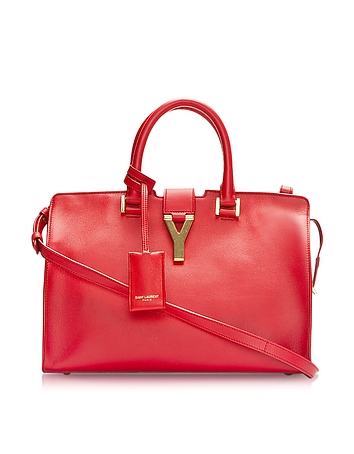 Cabas Y Red Leather Tote