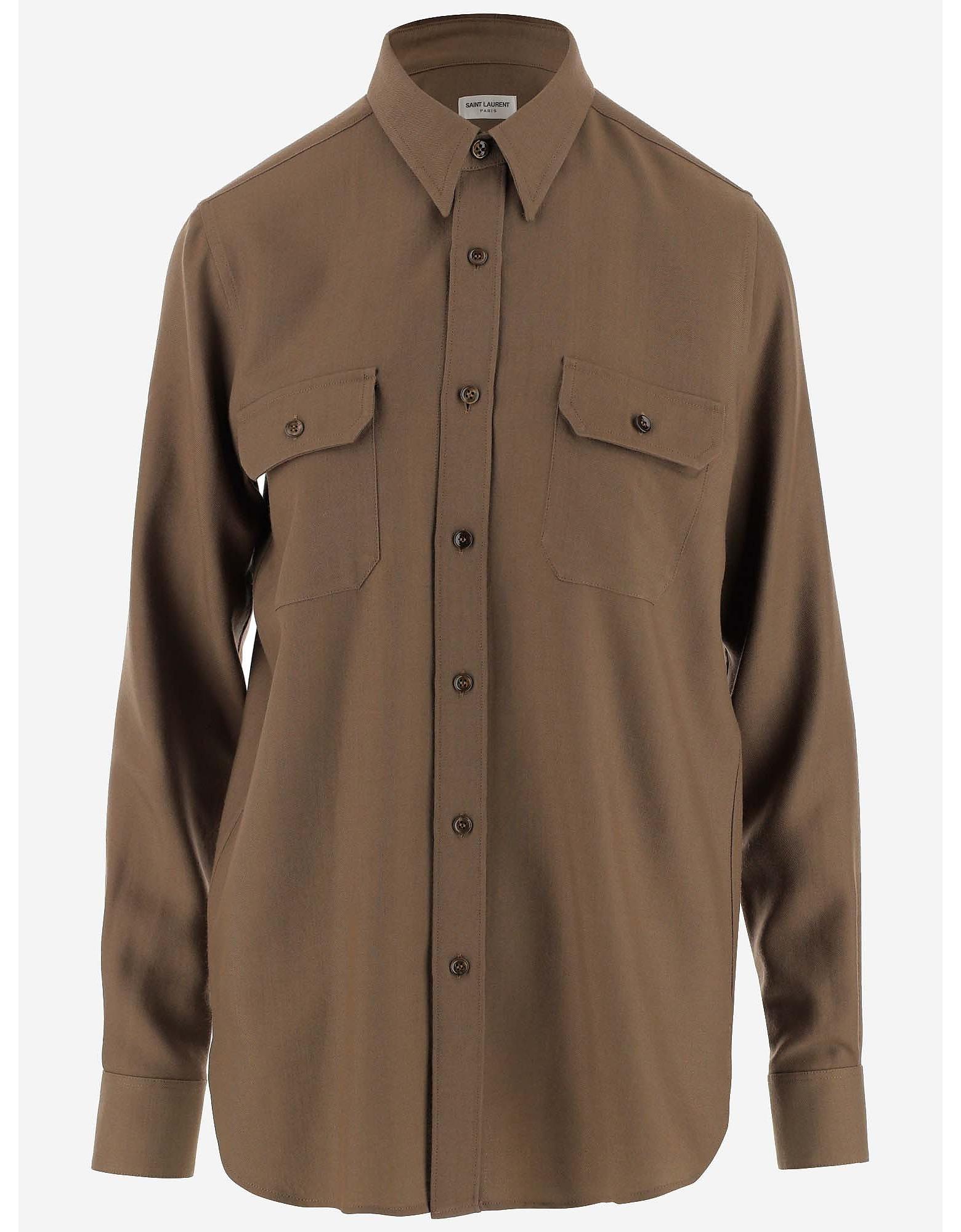 Saint Laurent Designer Shirts, Khaki Wool Women's Casual Shirt