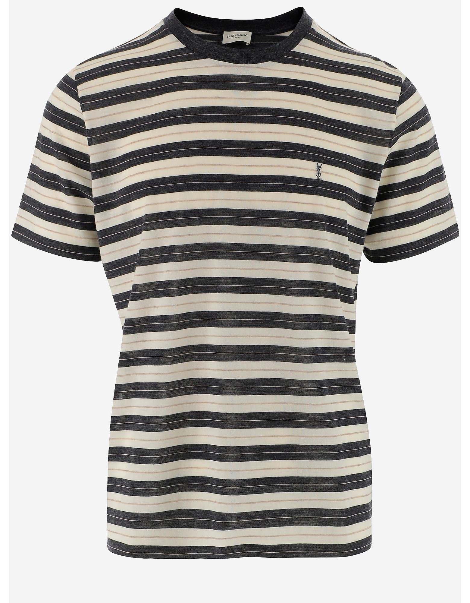 Saint Laurent Designer T-Shirts, Striped Wool Men's T-Shirt