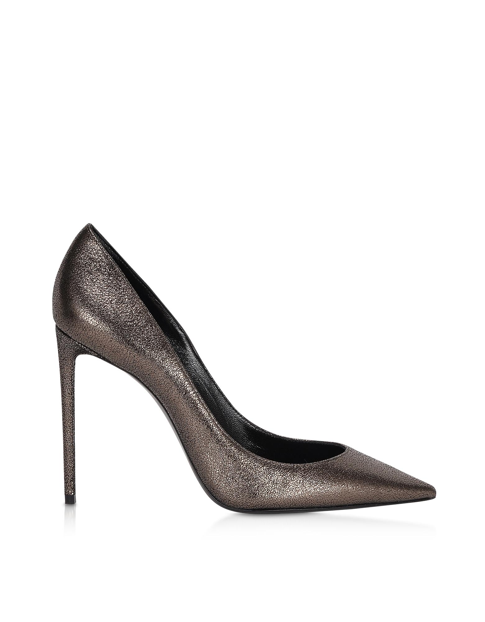 Saint Laurent Designer Shoes, Gunmetal Evora Leather 85 Zoe Pumps
