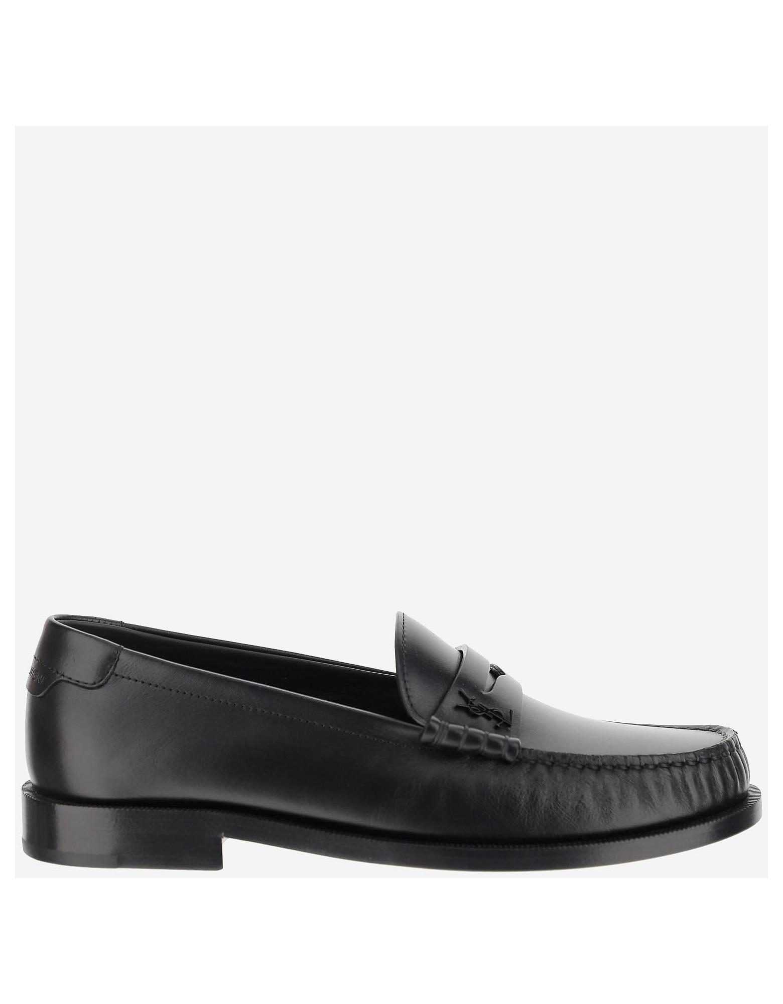 Saint Laurent Designer Shoes, Black Leather Loafers