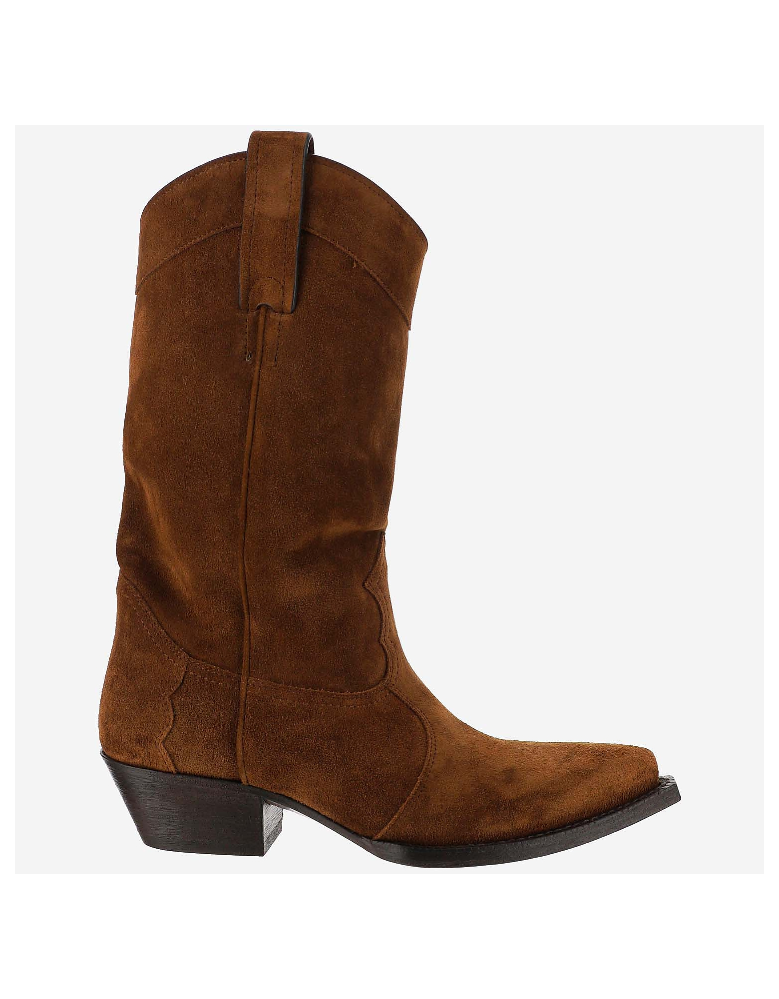 Saint Laurent Designer Shoes, Brown Ankle Boots
