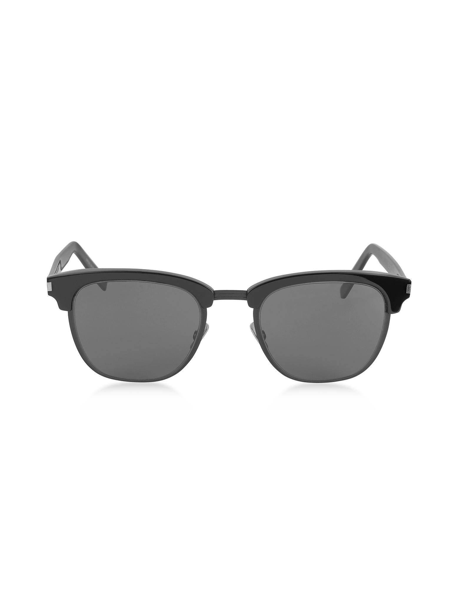 SL108 - Тонкие Черные Женские Солнечные Очки в Металлической Оправе Чашка