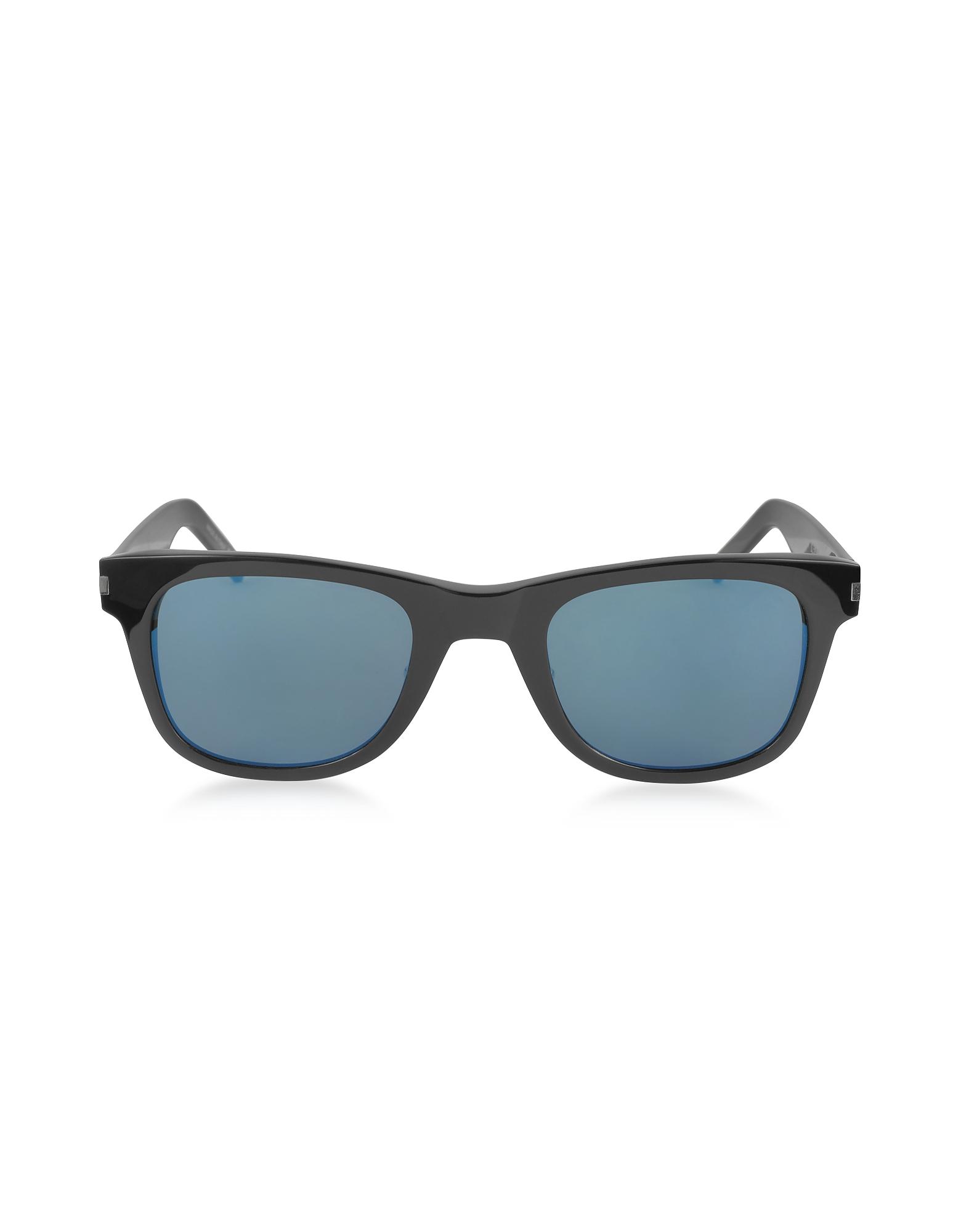 SL51 - Тонкие Черные Женские Солнечные Очки в Металлической Оправе