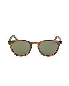 SL 28 Havana Acetate Round-Frame Unisex Sunglasses - Saint Laurent