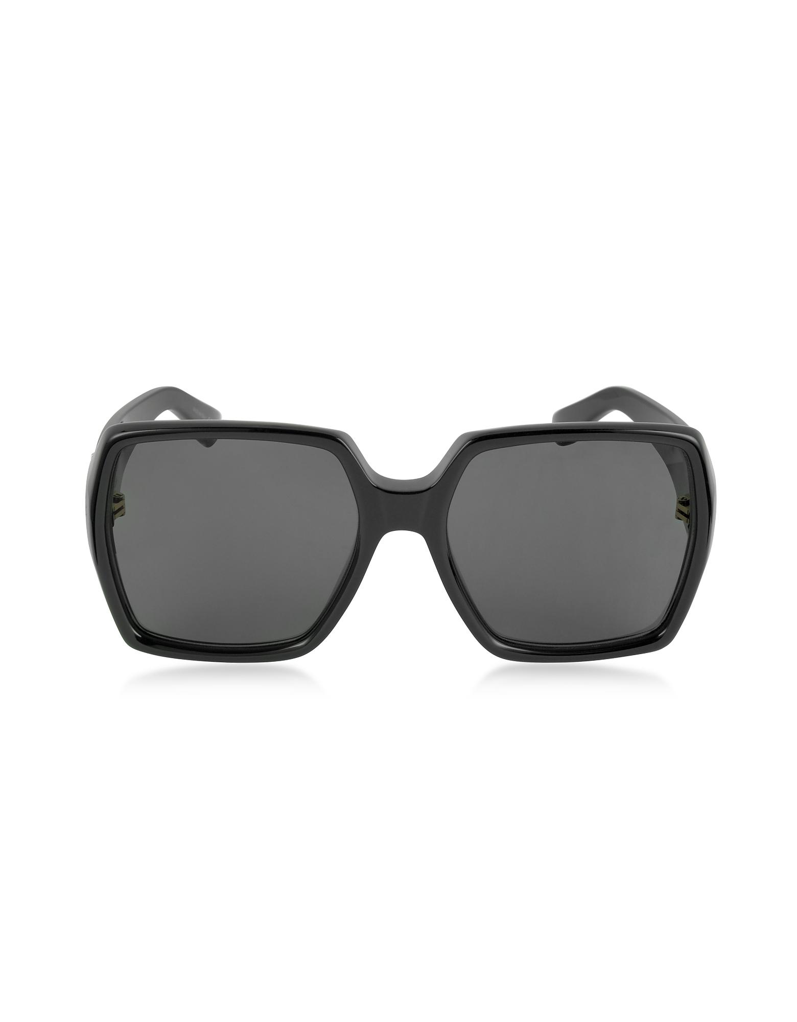 Фото SL M2 - Большие Черные Женские Солнечные Очки в Квадратной Оправе из Ацетата. Купить с доставкой