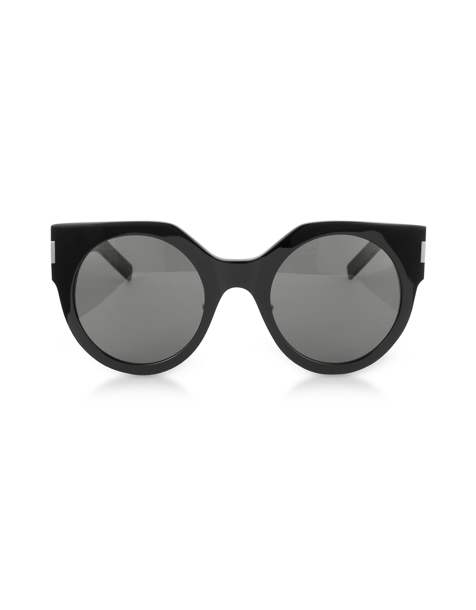 SL 185 Slim Shiny Black Acetate Women's Sunglasses