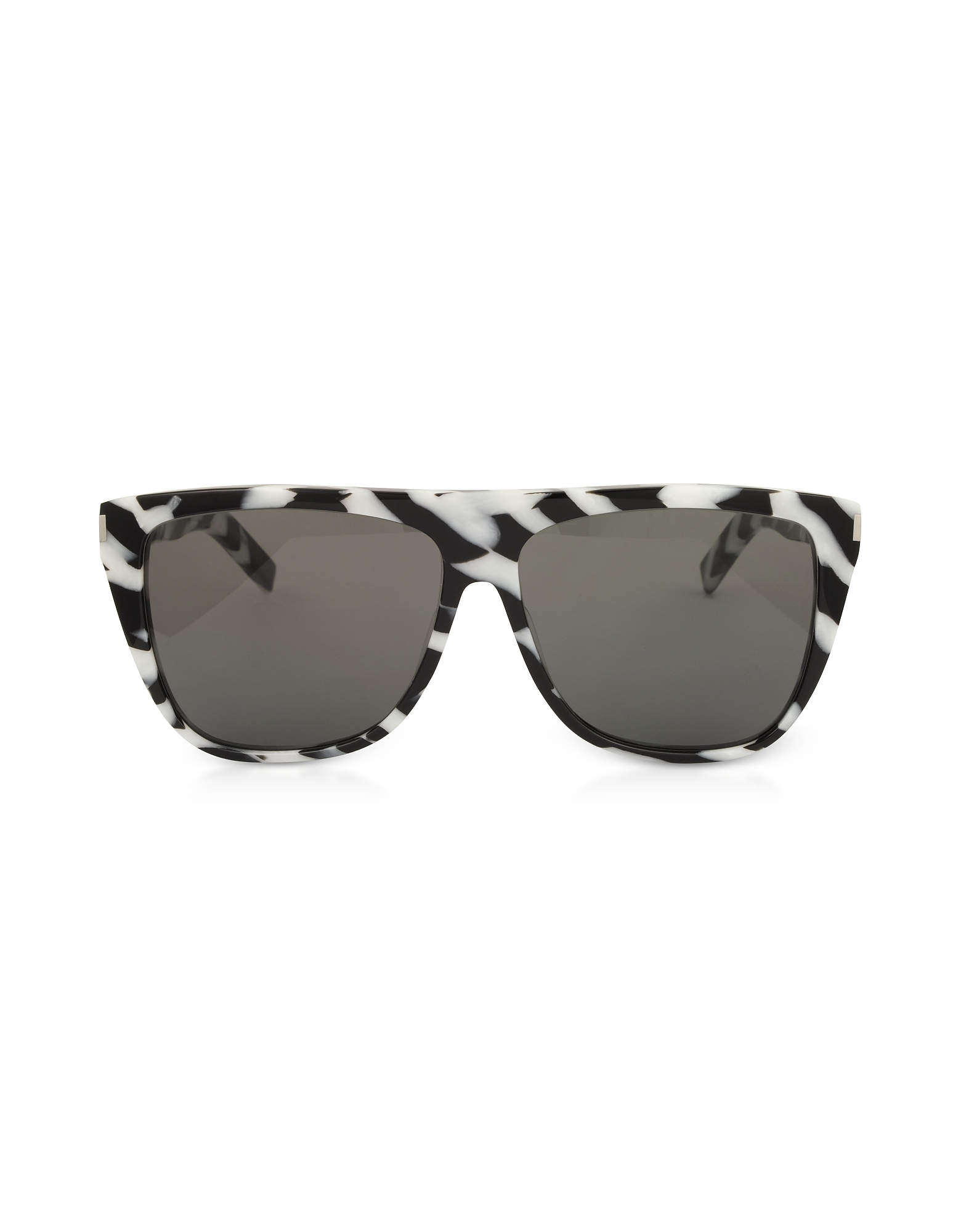 Saint Laurent Designer Sunglasses, SL1 014 Black and White Zebra Striped Acetate Frame Sunglasses