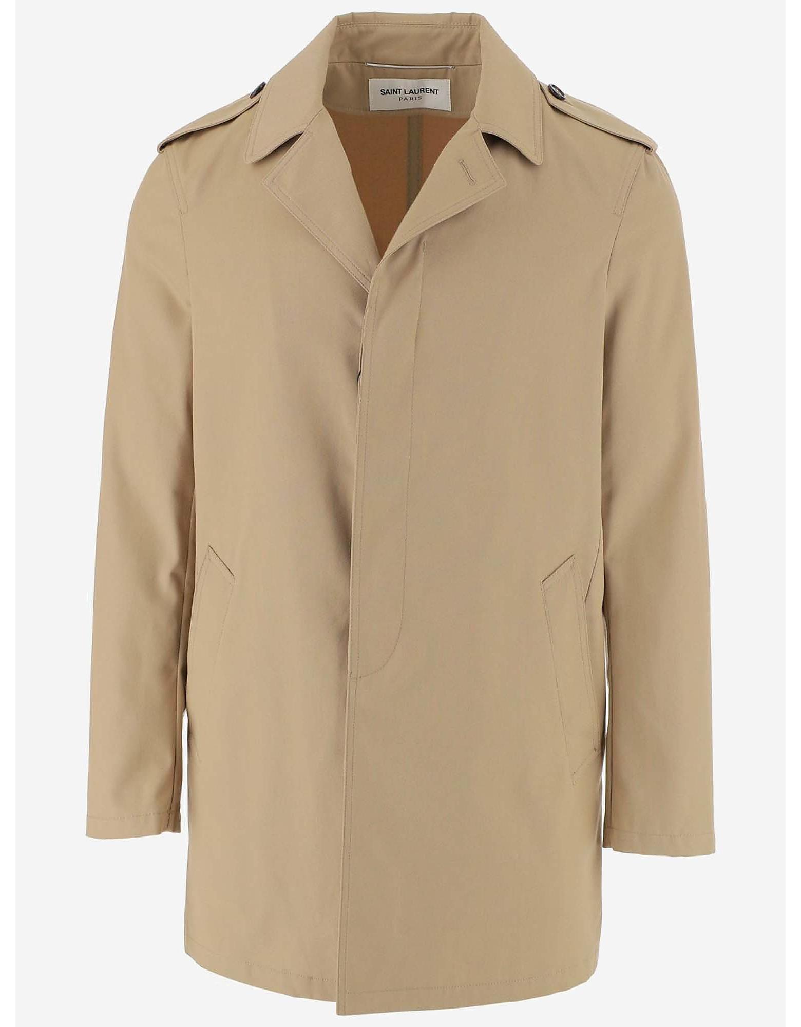 Saint Laurent Designer Coats & Jackets, Beige Cotton Men's Trench Coat
