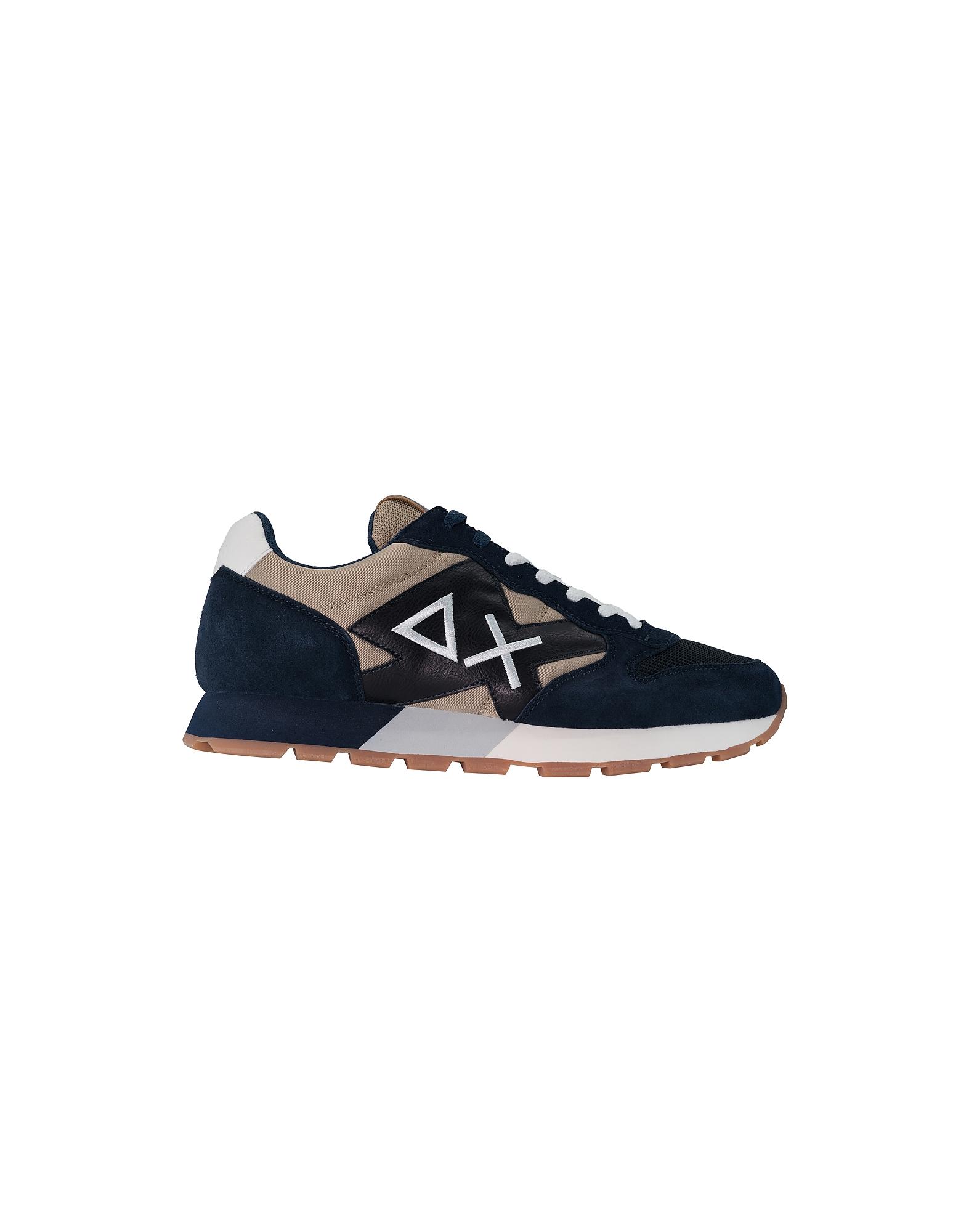 SUN68 Designer Shoes, Men's Blue Shoes